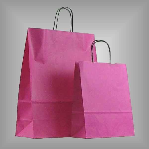 25 Papiertüten pink, gedrehter Griff