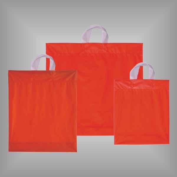 50 Plastiktüten rot-transparent mit Schlaufengriff