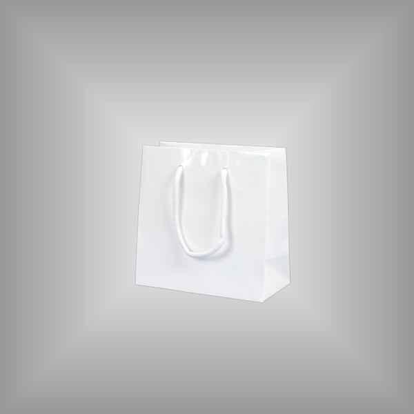 10 Papierlacktaschen weiss mit Griffkordel