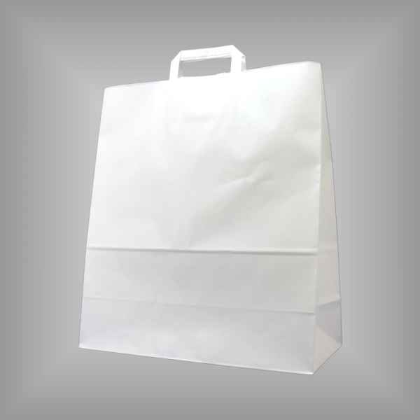 25 Papiertragetaschen weiß, 40 x 17 x 45cm flacher Griff