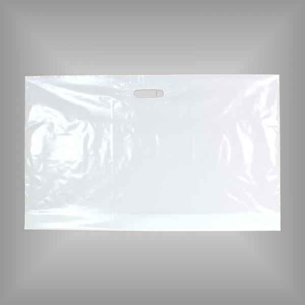 25 Plastiktüten weiß 76 x 45 + 5cm mit Griffloch