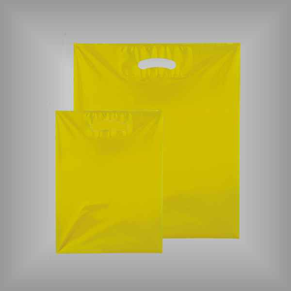 50 Plastiktüten gelb-transparent mit Griffloch