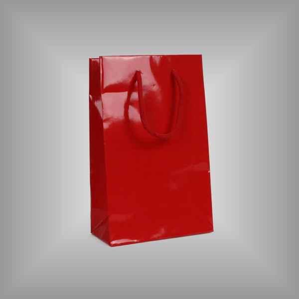 10 Papierlacktaschen rot mit Griffkordel