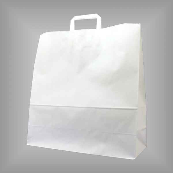 25 Papiertragetaschen weiß, 45 x 17 x 47cm flacher Griff