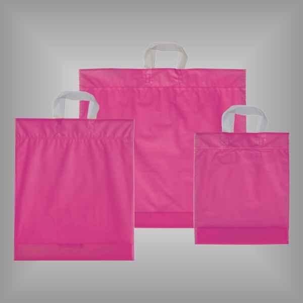 50 Plastiktüten pink-transparent mit Schlaufengriff
