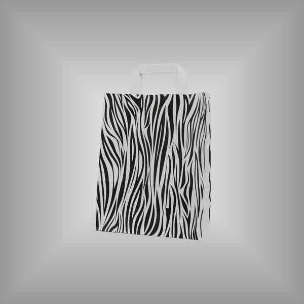 """25 Papiertragetaschen """"Zebra"""", 22 x 11 x 28cm flacher Griff"""