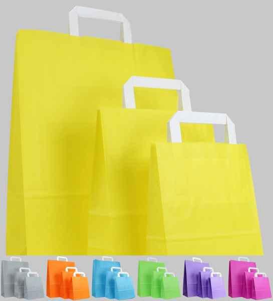 25 Papiertragetaschen farbig flacher Griff