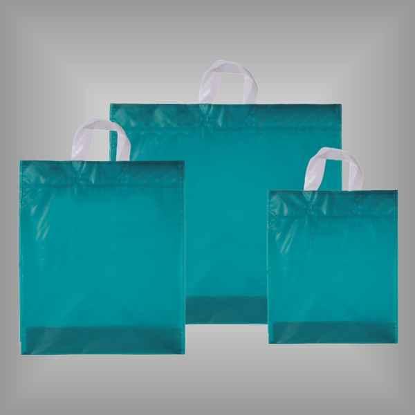 50 Plastiktüten aquamarine-transparent mit Schlaufengriff