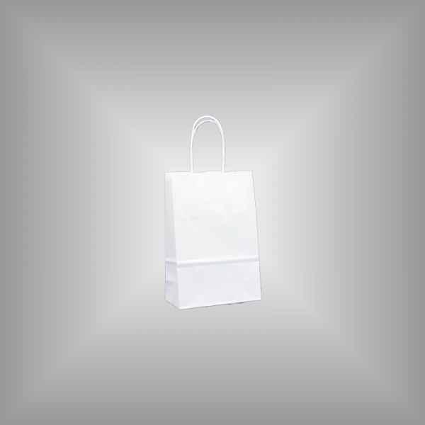 25 Papiertragetaschen weiß 14 x 7 x 21cm gedrehter Griff