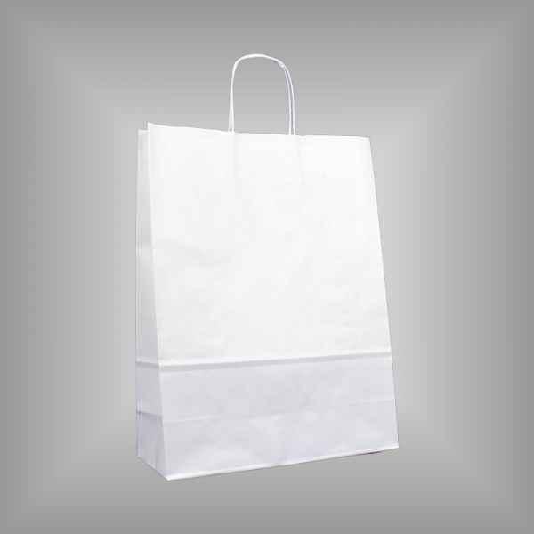 25 Papiertragetaschen weiß 32 x 13 x 42,5cm gedrehter Griff