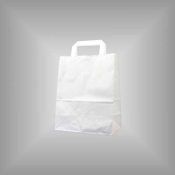 25 Papiertragetaschen weiß 22 x 11 x 28cm flacher Griff