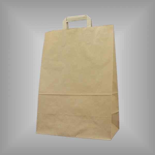 25 Papiertragetaschen braun 32 x 17 x 45cm flacher Griff