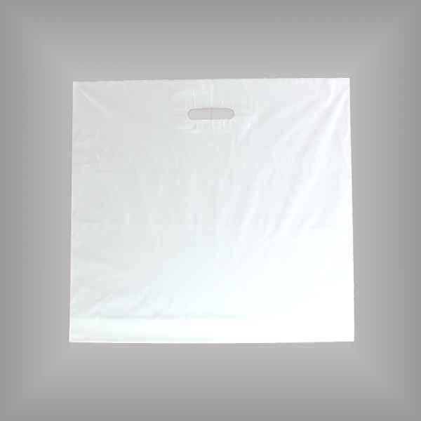 25 Plastiktüten weiß 60 x 55 ohne Bodenfalte mit Griffloch