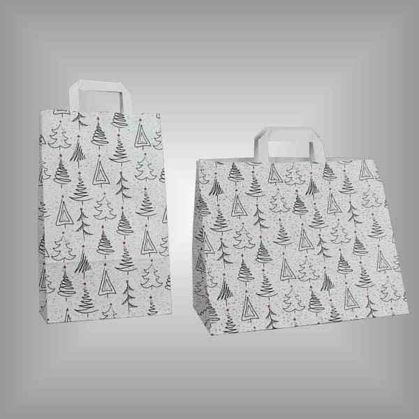 Tragetaschen mit Tannenbäumen für Weihnachten