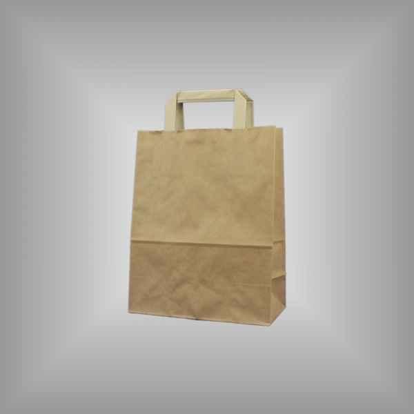 25 Papiertragetaschen braun 22 x 11 x 28cm flacher Griff