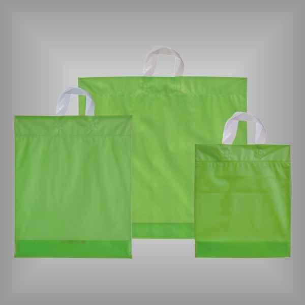 50 Plastiktüten hellgrün-transparent mit Schlaufengriff