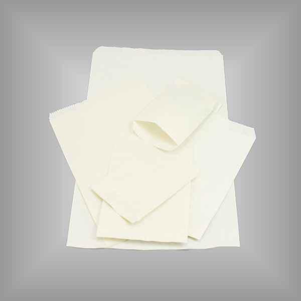 100 Papierflachbeutel weiß 09 x 12cm
