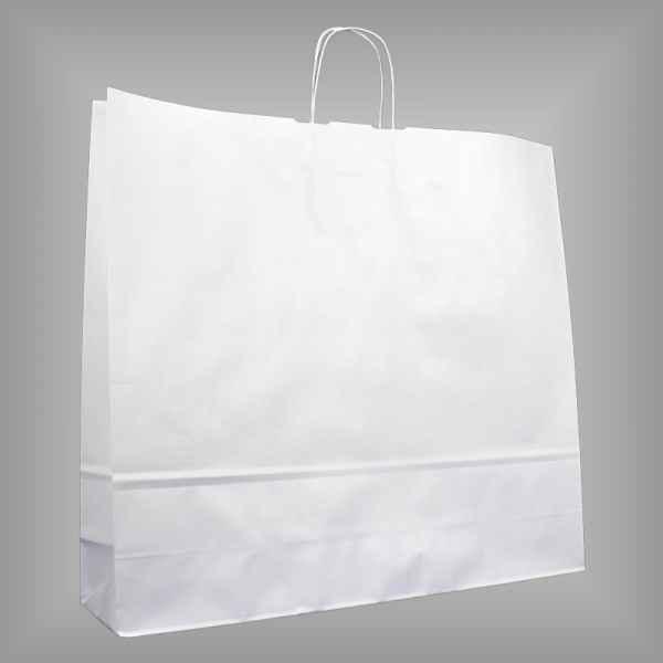 25 Papiertragetaschen weiß 54 x 14 x 50cm gedrehter Griff