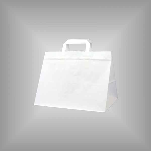 25 Papiertragetaschen weiß, 32 x 22 x 27cm flacher Griff