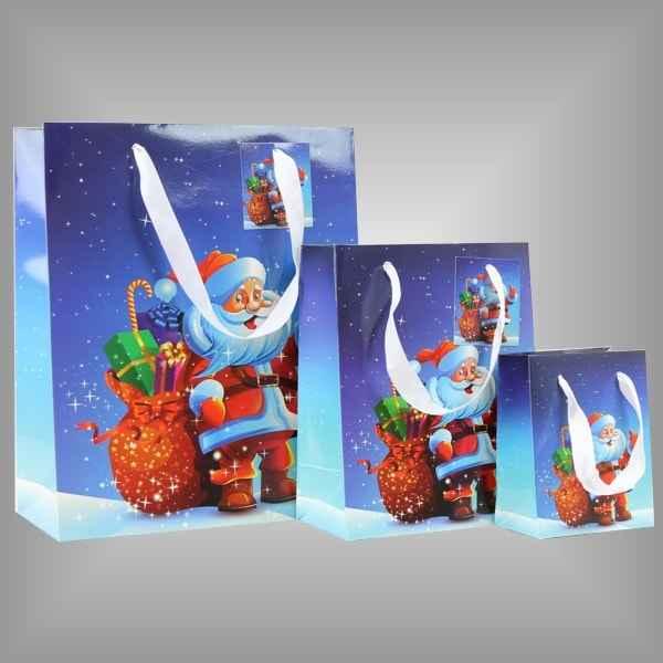 Papierlacktasche mit Weihnachtsmann Motiv für Weihnachten