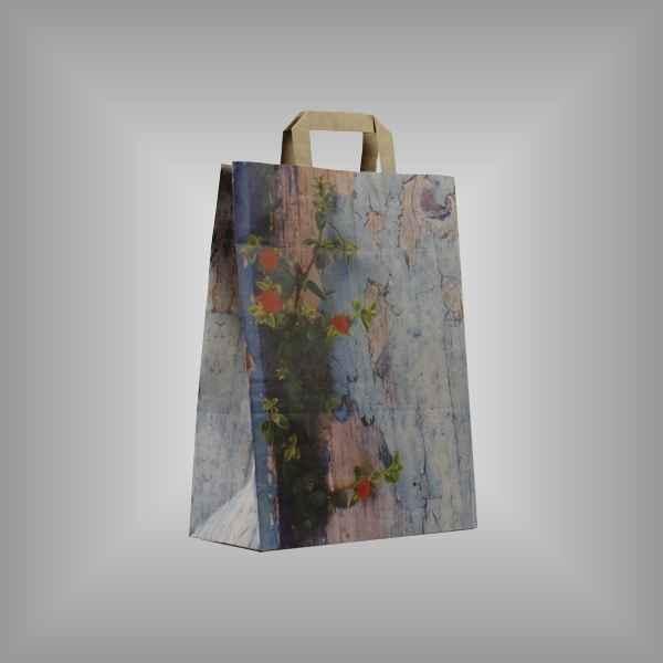 """25 Papiertragetaschen """"Vintage"""", 26 x 11 x 35cm flacher Griff"""