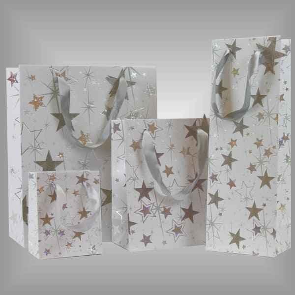 Tragetaschen Lacktragetaschen weiß mit Goldenen Sternen für Weihnachten