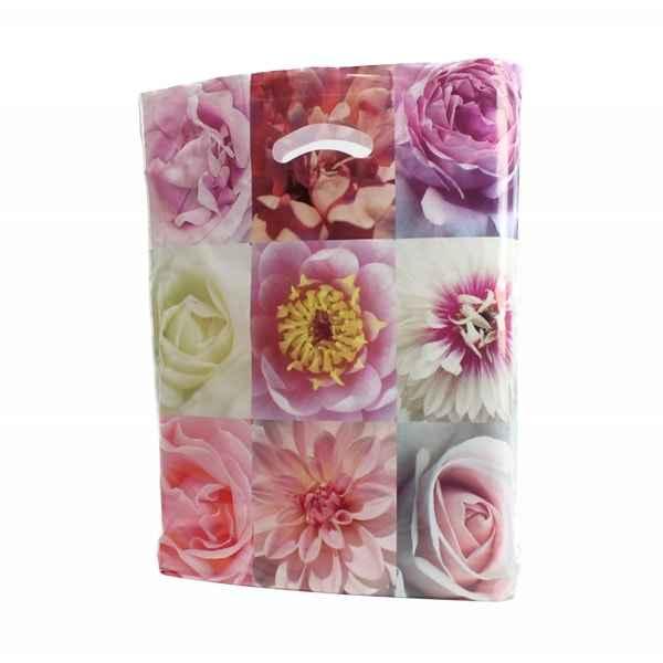 Plastiktüte mit Blütenmosaik