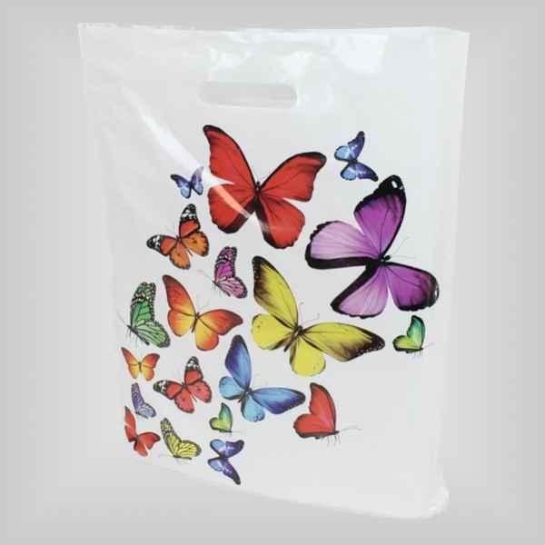 50 Plastiktüten Schmetterlinge, 38 x 45 + 5cm mit Griffloch