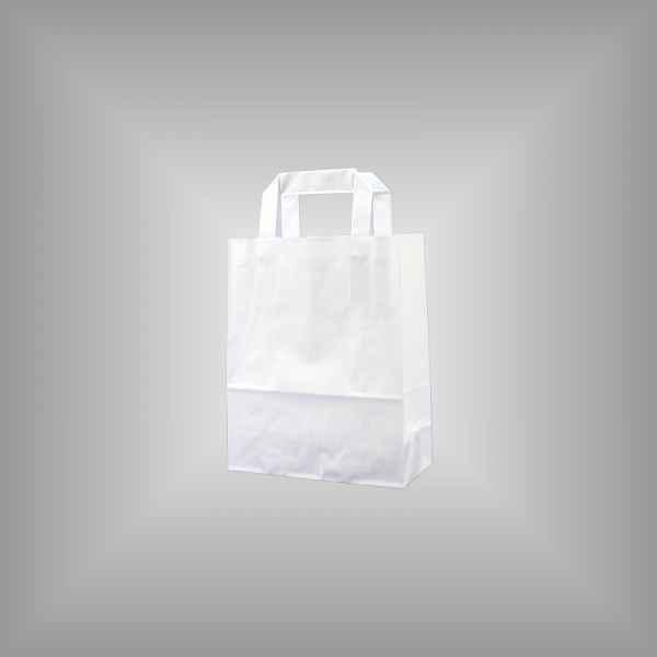 25 Papiertragetaschen weiß 18 x 8 x 22cm flacher Griff