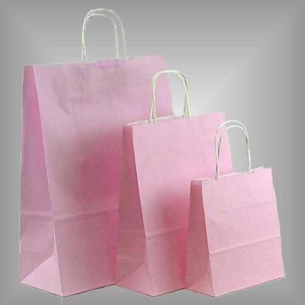 25 Papiertüten rosa, gedrehter Griff