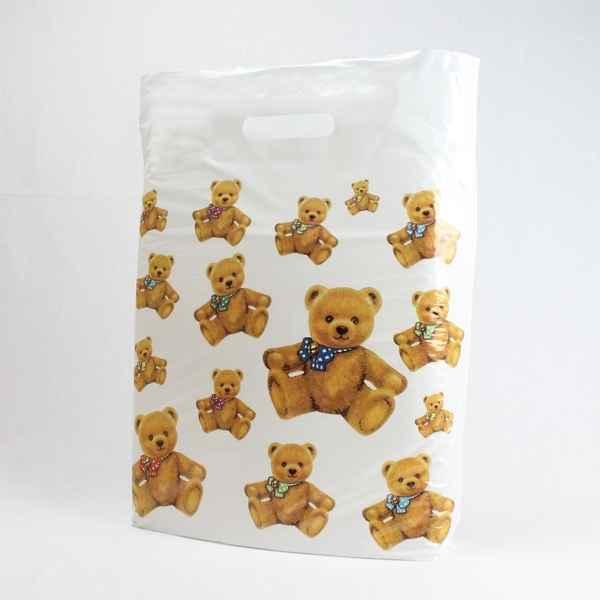 50 Plastiktüten Teddybären, 38 x 45 + 5cm mit Griffloch