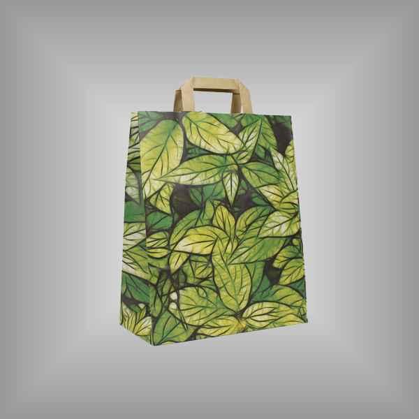 "25 Papiertragetaschen ""Blätter"", 26 x 11 x 35cm flacher Griff"