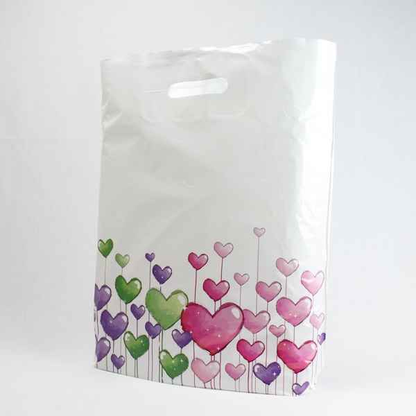 50 Plastiktüten Herzen, 38 x 45 + 5cm mit Griffloch