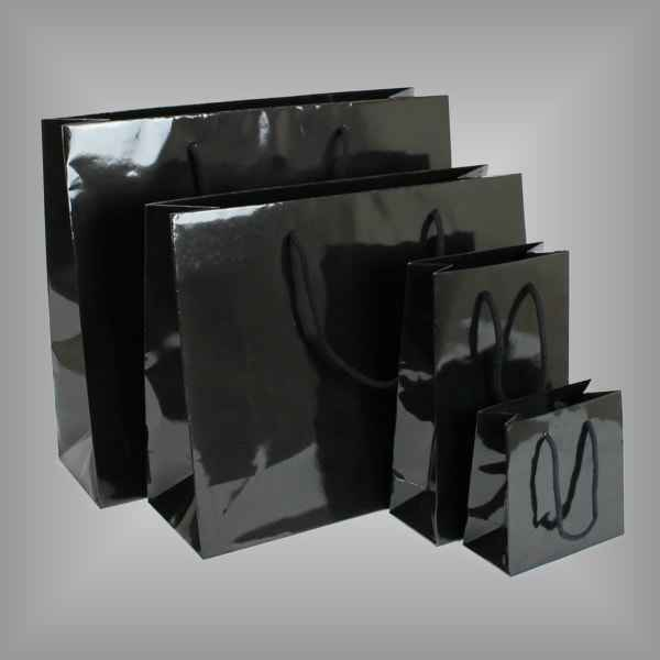 10 Papierlacktaschen schwarz mit Griffkordel
