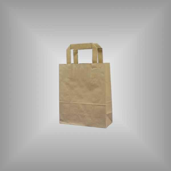 25 Papiertragetaschen braun 18 x 8 x 22cm flacher Griff