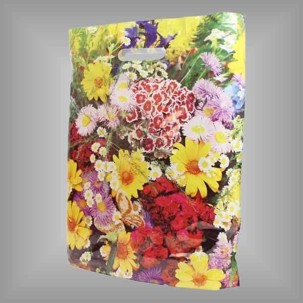 Plastiktüte im Motiv Blumenwiese