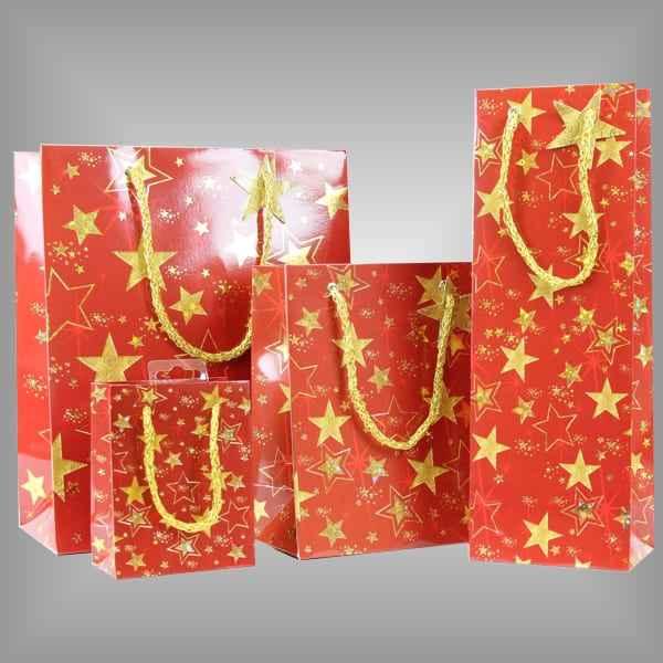 Tragetaschen Lacktragetaschen rot mit Goldenen Sternen für Weihnachten