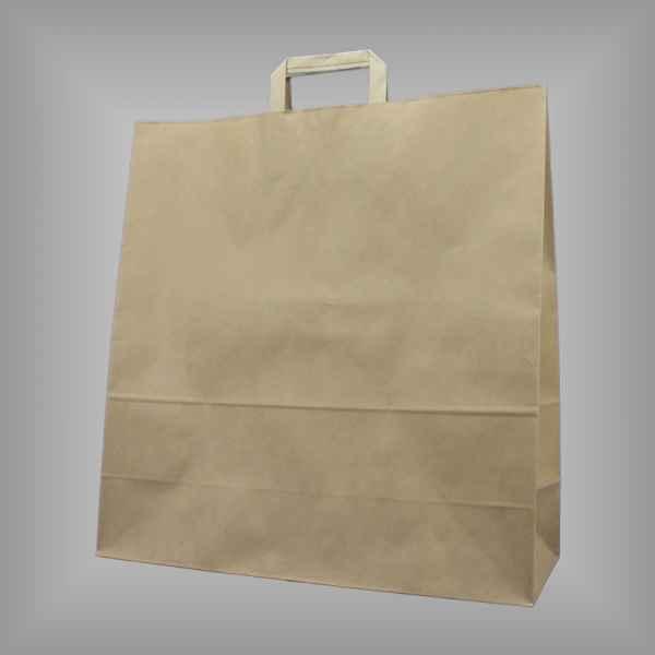 25 Papiertragetaschen braun 45 x 17 x 47cm flacher Griff
