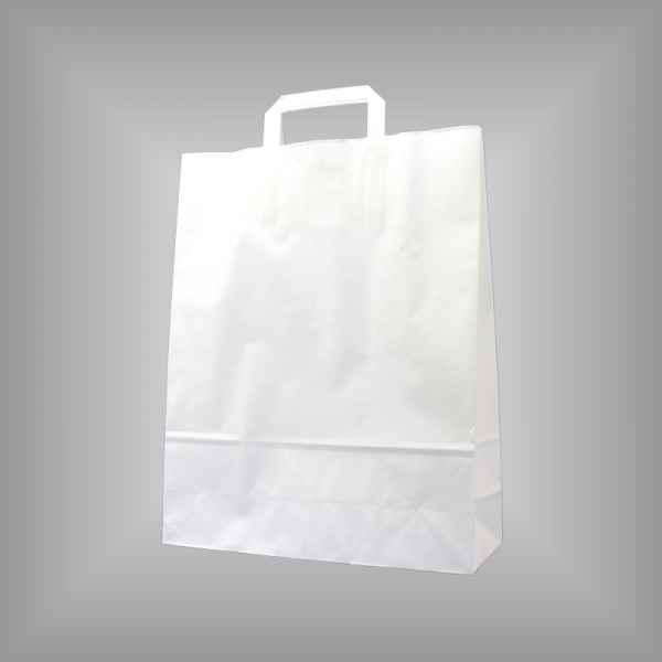 25 Papiertragetaschen weiß, 32 x 11 x 40cm flacher Griff