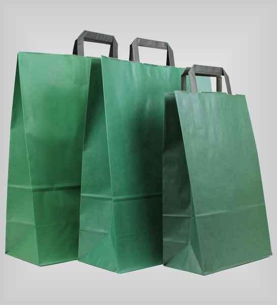 25 Papiertragetaschen grün flacher Griff
