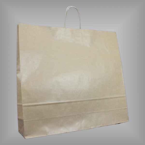 25 Papiertragetaschen braun 54 x 14 x 50cm gedrehter Griff