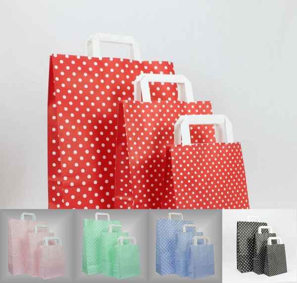 25 Papiertragetaschen farbig mit Pünktchen flacher Griff