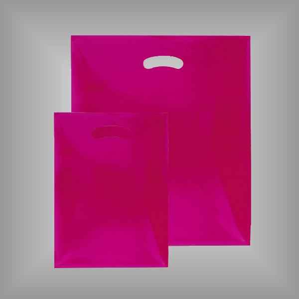 50 Plastiktüten pink-transparent mit Griffloch