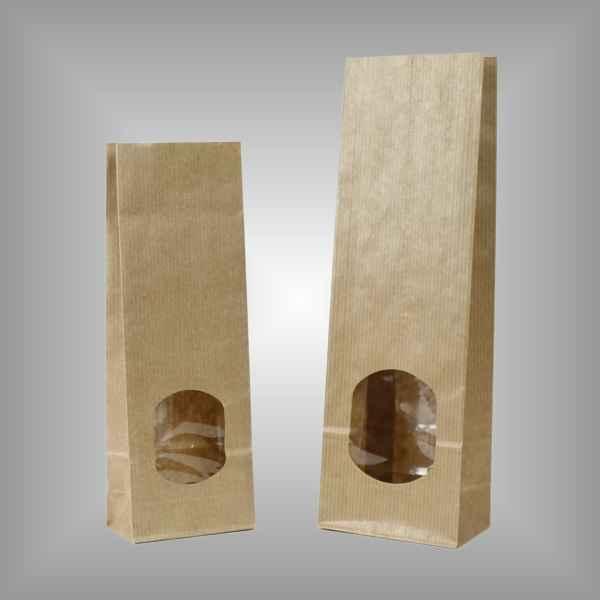25 Papierblockbodenbeutel braun mit Sichtfenster