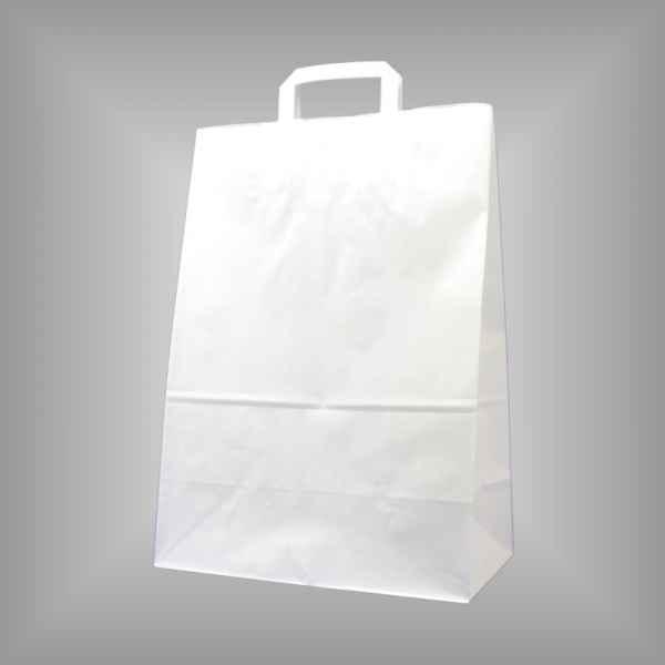 25 Papiertragetaschen weiß, 32 x 17 x 45cm flacher Griff