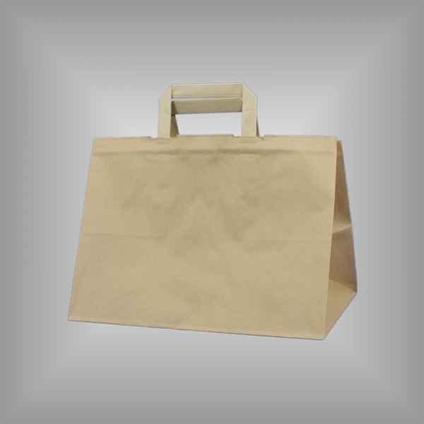 25 Papiertragetaschen braun 32 x 22 x 27cm flacher Griff