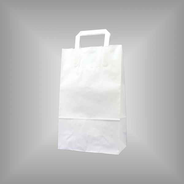 25 Papiertragetaschen weiß, 22 x 11 x 36cm flacher Griff