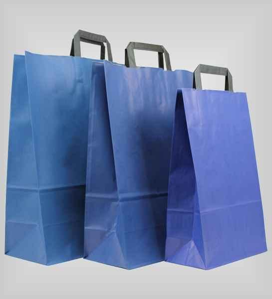 25 Papiertragetaschen blau flacher Griff