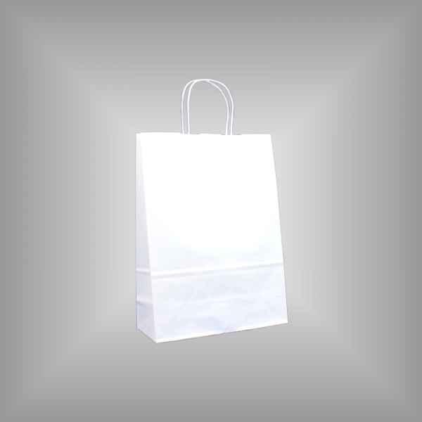 25 Papiertragetaschen weiß 22 x 10 x 31cm gedrehter Griff