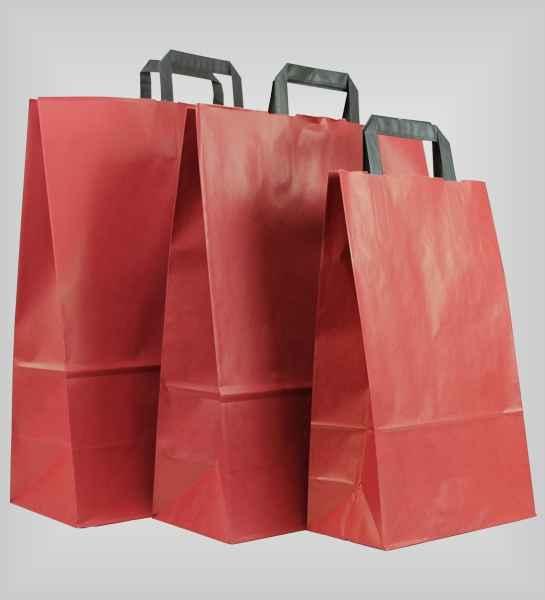 25 Papiertragetaschen rot flacher Griff